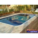 piscina de alvenaria com deck de madeira preço Indaiatuba